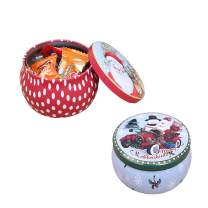 FineInno 2 Packs Christmas Tinplate Tins Jar Round Candy Box Sweetie Case Storage Can Cups for DIY Candle Tea,Coffee,Jewelry,Party Favors,and Gifts (2 pcs candy box)