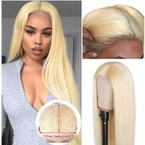 Glueless 613 Lace Wig Middle Part 150% Density 613 Blonde Human Hair Wigs Pre Plucked Peruvian Straight 13x1 Lace Part Wig Remy 4 Inch Deep Parting Long Straight For Black Women