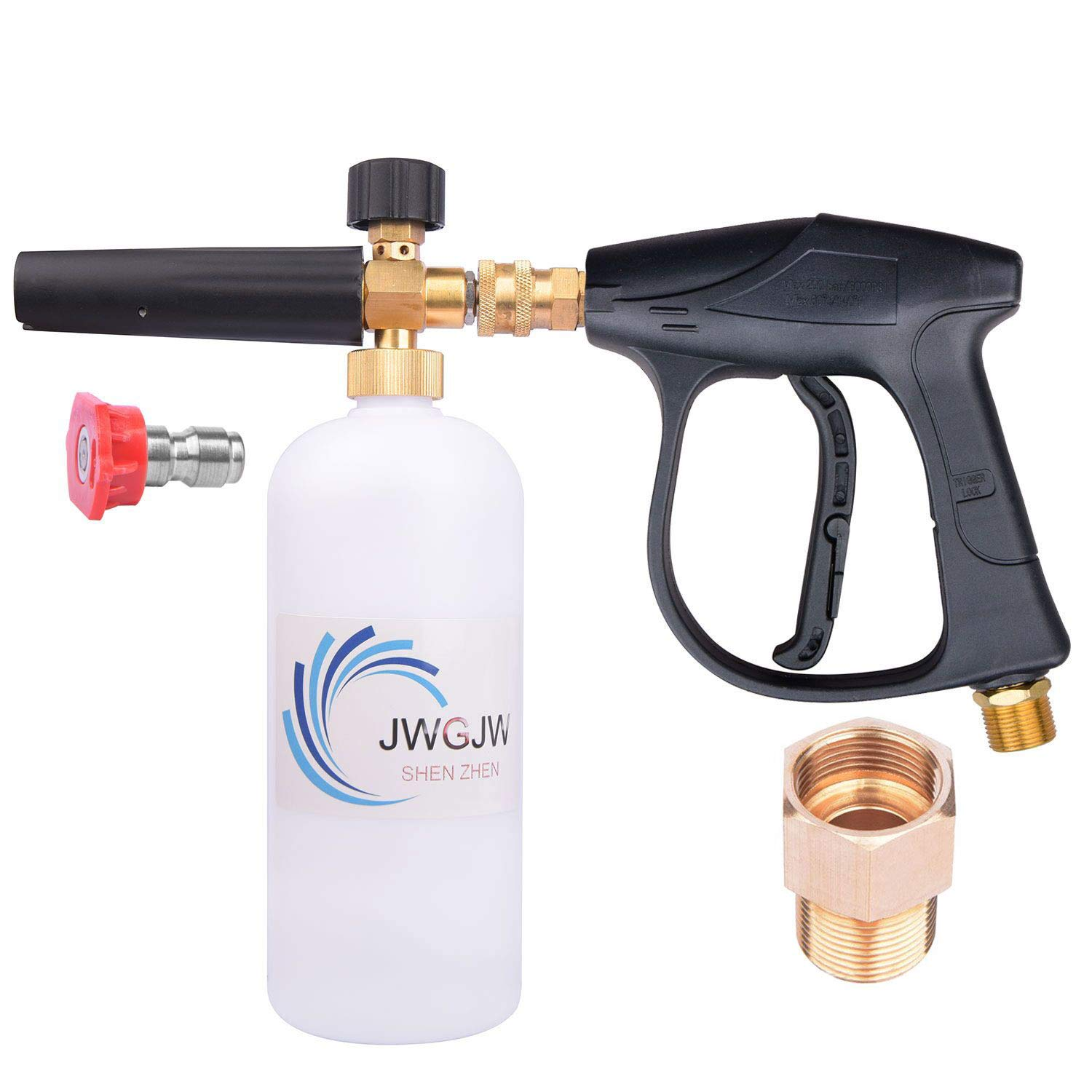JWGJW 166 High Pressure Washer Gun Snow Foam Lance Cannon Foam and M22 Thread Adapter (15mm-14mm) and A Water Nozzle