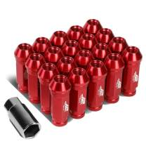 J2 Engineering LN-T7-028-15-RD 7075 Aluminum Red M12X1.5 20Pcs L: 60mm Open-End Lug Nut w/Adapter