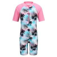 TFJH E Girls Swimsuit 3-10 Years UPF 50+ UV One Piece Swimwear with Zipper