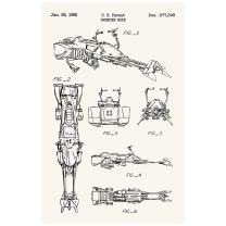 "Inked and Screened ""Star Wars Vehicles: Speeder Bike Print, 11"" x 17"", True White - Black Ink"