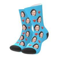 Custom Photo Pet Face Socks Love Heart Personalized Crew Sock Gift for Men Women