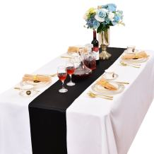LOVWY Pack of 20 Satin Table Runner 12 x 108 Inches for Wedding Party Engagement Event Birthday Graduation Banquet Decoration (Colors Optional) (Black)