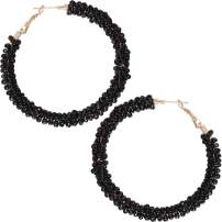 Humble Chic Beaded Hoop Earrings for Women - Statement Big Hoops Bohemian Circle Round Drop Dangles - Boho Seed Bead Wrapped Extra Large Dangly Loop Studs