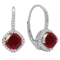 Dazzlingrock Collection 18K 6 MM Each Cushion Gemstone & Round White Diamond Ladies Halo Style Hoop Earrings, White Gold