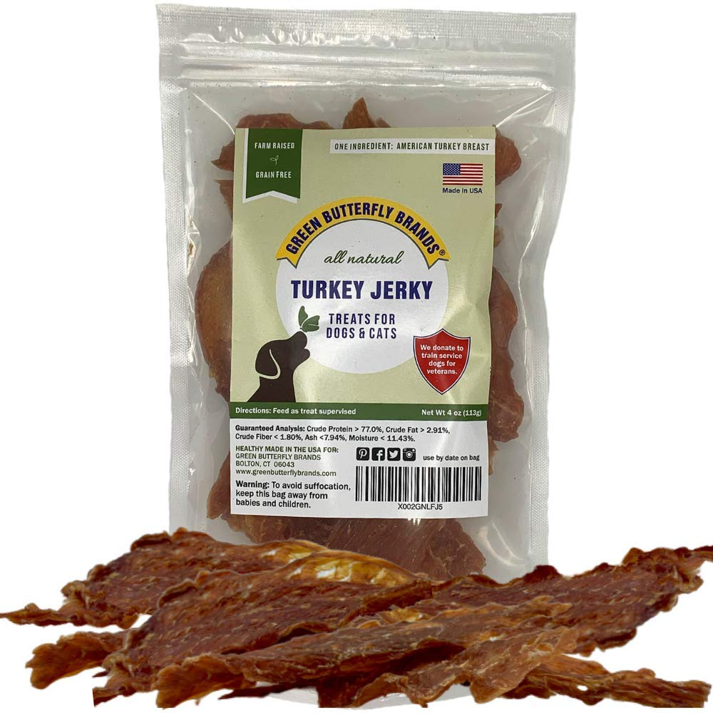 Green Butterfly Brands Dog Jerky Treats – Premium Turkey Breast – Dog Treats Made in USA Only. All Natural – Grain Free, No Preservatives – Turkey Jerky for Dogs & Cats – Irresistible Training Treat