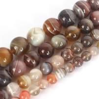 Love Beads Natural Botswana Sardonyx Agate Smooth Round Beads for Jewelry Making 15inches 6mm Gemstone Beads