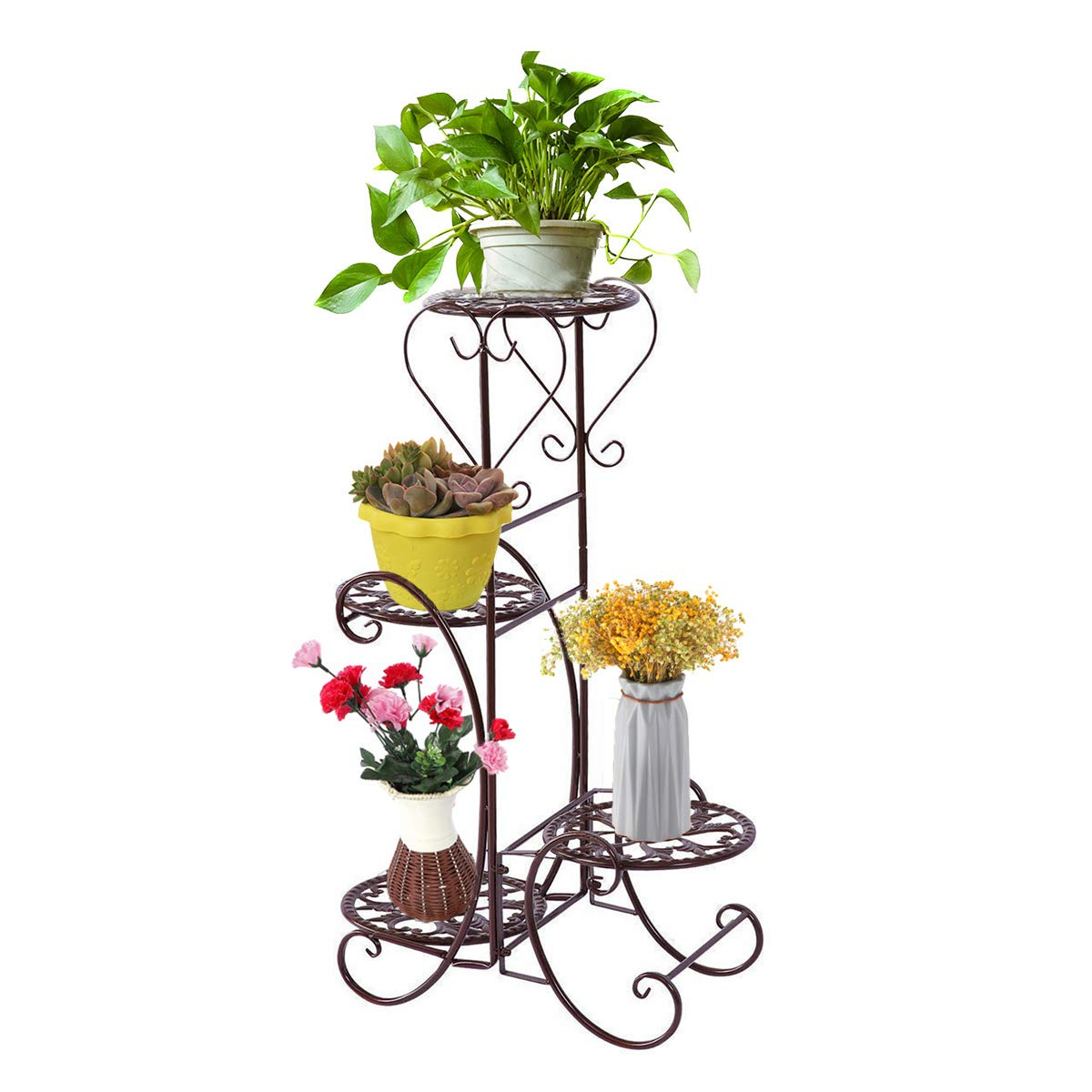 JOANNA'S HOME 4 Tier Outdoor Plant Stand Metal Flower Stand Flower Stand for Living Room Garden Balony Porch Decoration - Brown