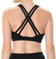 Yoga Cross Strappy Sports Bra for Women Scoop Neck Soft Cute Workout Fitness Gym Bra
