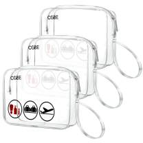 CGBE TSA Approved Toiletry Bag With Handle Quart Size Travel Bags For Toiletries Carry On Cosmetic Makeup Pouch 3PCS Clear