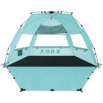 KOON Beach Tent Sun Shelter Pop Up - Easy Setup Beach Shade for 3-4 Person with UPF 50+ Protection, Extended Floor & 3 Ventilation Windows