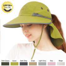 FURTALK Fishing Sun Hat Wide Brim Flap for Women Men Hiking Safari Summer Hat with Ponytail Hole SPF UPF 50+ Hunting Camping UV Protection Waterproof Packable Hat