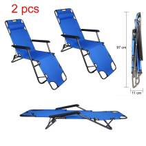 Tenozek Folding Beach Lounge Chair, Portable Outdoor Zero Gravity Chair Camping Reclining Chairs Patio Pool Beach Chaise Lawn Recliner (2 Pieces, Blue)