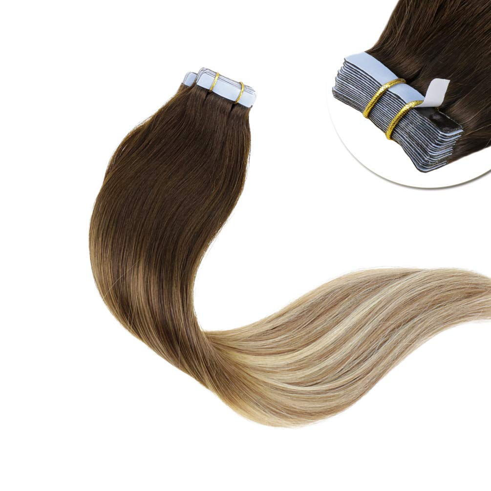 LaaVoo 14 inch Tape in Human Hair Extensions Balayage Ombre Color #3 Dark Brown to #8 Ash Brown and #24 Light Blonde Stright Skin Weft Hair 20 Pcs 50g/Package