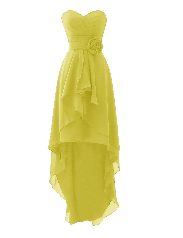Erosebridal High Low Chiffon Bridesmaid Dresses Strapless Casual Dresses