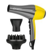 Prizm Quiet and Lightweight Blow Dryer, Powerful 1600W Professional Ceramic Tourmaline Hair Dryer with Large Diffuser and Concentrator Attachments, Two-Tone Color Pattern