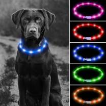 USB Rechargeable LED Dog Collar - Glowing Pet Safety Collar Silicone Cuttable Light Up Dog Collar Lights for Night Dog Walking