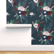 Spoonflower Pre-Pasted Removable Wallpaper, Dark Florals Romantic Roses Teal Red Painterly Flowers English Garden Winter Botanical Print, Water-Activated Wallpaper, 24in x 108in Roll