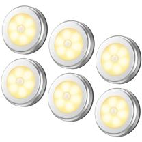AMIR Upgraded Motion Sensor Light, Cordless Battery-Powered LED Night Light, Stick-Anywhere Closet Lights Stair Lights, Puck Lights for Hallway, Bathroom, Bedroom, Kitchen (Warm White - Pack of 6)
