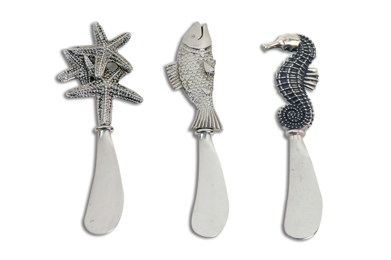 Coastal Theme Stainless Steel Cheese Spreaders Set Includes a Fish, Sea Horse and Star Fish Shaped Handles