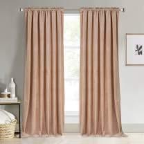 NICETOWN Blush Beige Velvet Room Darkening Curtains, Rod Pocket Classic Panels for Summer, Autumn & Winter (Double Panels, 84 inches Long)