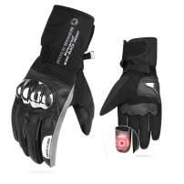 Men Motorcycle Winter Gloves Gauntlet TouchScreenGloves Windproof Riding Water Resistant Carbon Fiber ATV UTV Black Size L