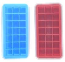 Mirenlife Ice Cube Trays Silicone with Lids, BPA Free Ice Cube Tray, Silicone Ice Trays for Chilled Drinks, Whiskey & Cocktail, 21 Cubes, Set of 2, Blue and Red