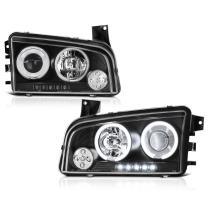 [For 2006-2010 Dodge Charger Halogen Model] CCFL Halo Ring Black Projector Headlight Headlamp Assembly, Driver & Passenger Side