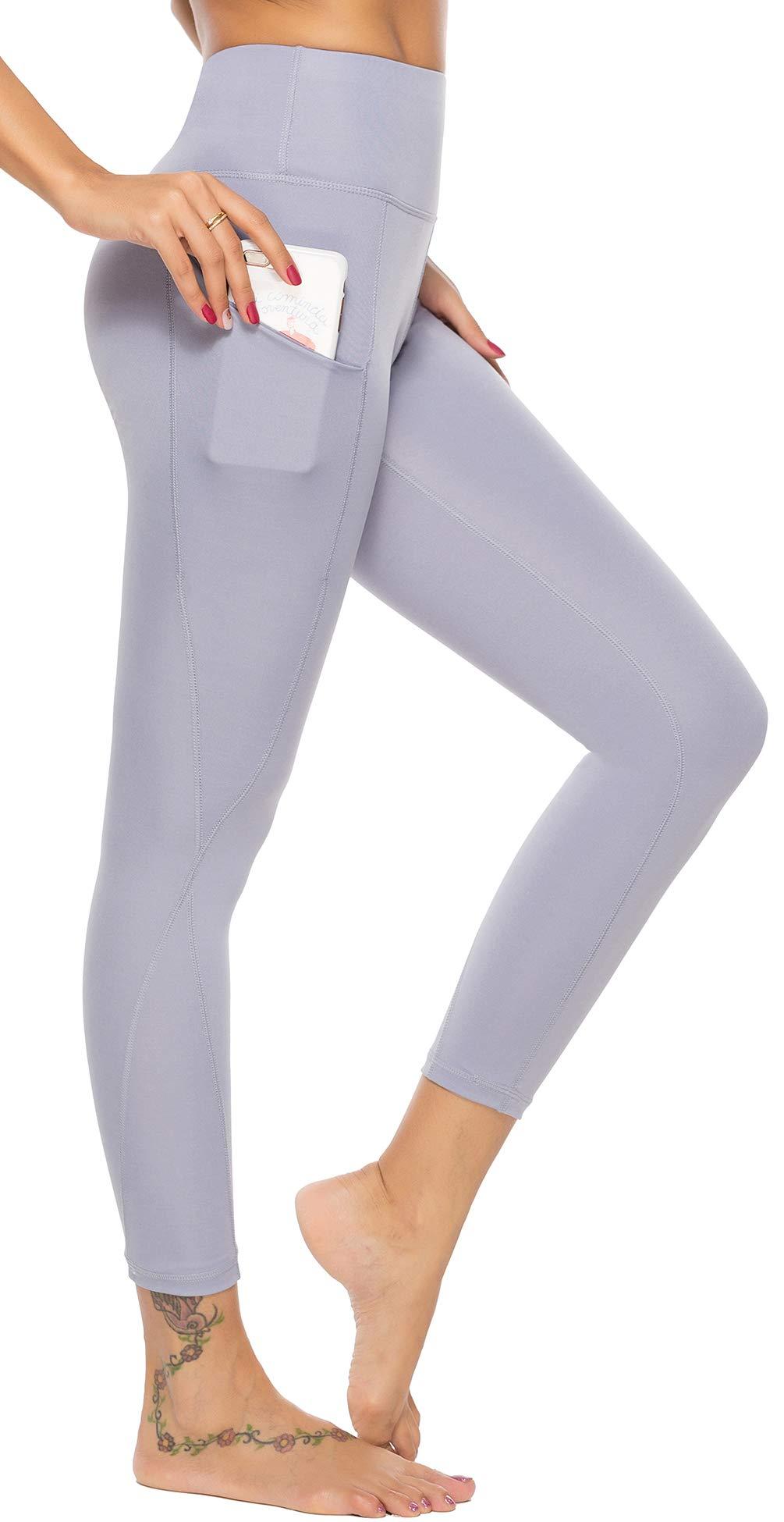 AUU High Waist Out Pocket Yoga Pants Tummy Control Workout Running 4 Way Stretch Capris Leggings