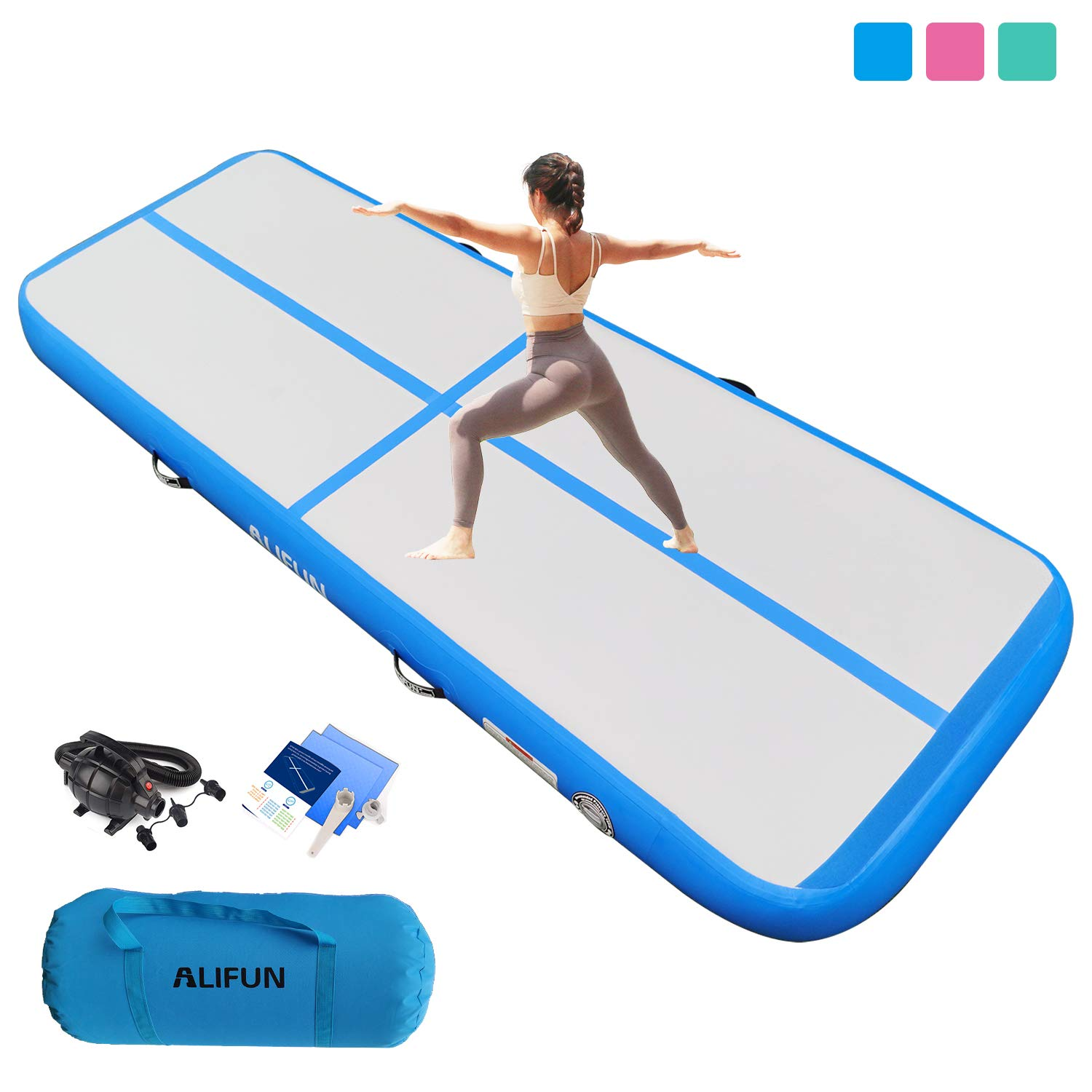 Air Track Inflatable Gymnastics Tumble Track Gym Mat 10ft 13ft 16ft 20ft for Toddler Adults, Gym Air Floor Yoga Mat for Outdoor Sports Training Cheerleading
