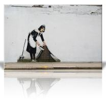 wall26 - Canvas Print Wall Art - Maid in London - Street Art - Guerilla - Banksy Street Artwork on Canvas Stretched Gallery Wrap. Ready to Hang - 16 x 24 inches