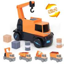 LBLA Construction Truck Toys for Kids Boys 5-in-1 Magnetic Vehicles Assembly Playset Toys for 3 Year Old Kids