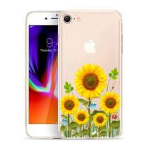 Unov Case for iPhone SE (2020) iPhone 8 iPhone 7 Clear with Design Embossed Pattern TPU Soft Bumper Shock Absorption Slim Protective Back Cover 4.7 Inch (Sunflower Blossom)