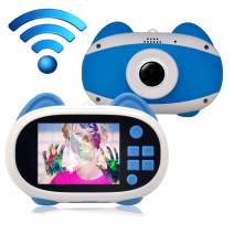 denicer Camera for Kids 2-inch Color Screen Children's WiFi Camera with Microphone with App Share Video & Photo,15 Different Photo Frames as Boys Birthday/Festival Gift(Blue)