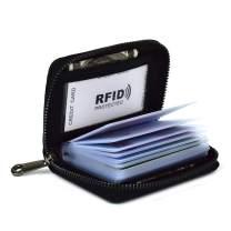 Lacheln RFID Blocking Credit Card Organizer Wallet Genuine Leather Zipper Security Travel Small Money Holder