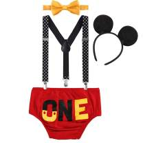 Baby Boys First Birthday 1st/2nd/3rd Costume Cake Smash Outfits Y Back Suspenders Bloomers Bowtie Set Mouse Ear
