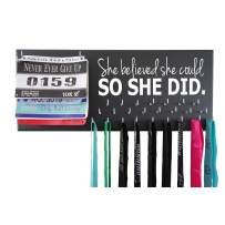 Running On The Wall - Race Bib and Medal Display Rack- Wall Mounted Sports Medal Holder and Hanger for 5K, 10K and Marathons Runners - SHE Believed SHE Could, SO SHE DID