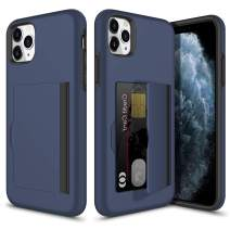 Vofolen Case for iPhone 11 Pro Case Wallet Card Holder ID Slot Flip Door Hidden Back Pocket Anti-Shock Rugged Bumper Armor Dual Layer Hybrid Protective Hard Shell for iPhone 11 Pro 5.8 inch Navy
