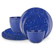 Zak Designs Confetti Melamine Dinnerware Set Includes Dinner Plates, Salad Plates, and Individual Bowls, Durable and Eco-Friendly (Blue, 12-Piece Dinnerware Set Service for 4, BPA Free)