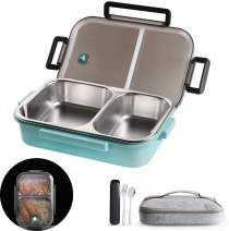 Insulated Bento Box,2 Compartments Bento Lunch box with Lid And Portable utensils,Stainless Steel thermos Bento Lunch Box Leakproof Food Containers for Kids, Adults, Men, Women(Blue)