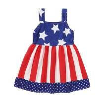 Toddler Baby Girls 4th of July Dress Red Stripe Blue White Stars Dress Sundress