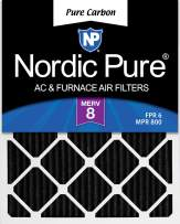 Nordic Pure 15x20x1 Pure Carbon Pleated Odor Reduction AC Furnace Air Filters, 2 PACK, 2 Piece