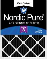 Nordic Pure 18x30x1 MERV 8 Pleated Pure Carbon Odor Reduction AC Furnace Air Filters 2 Pack