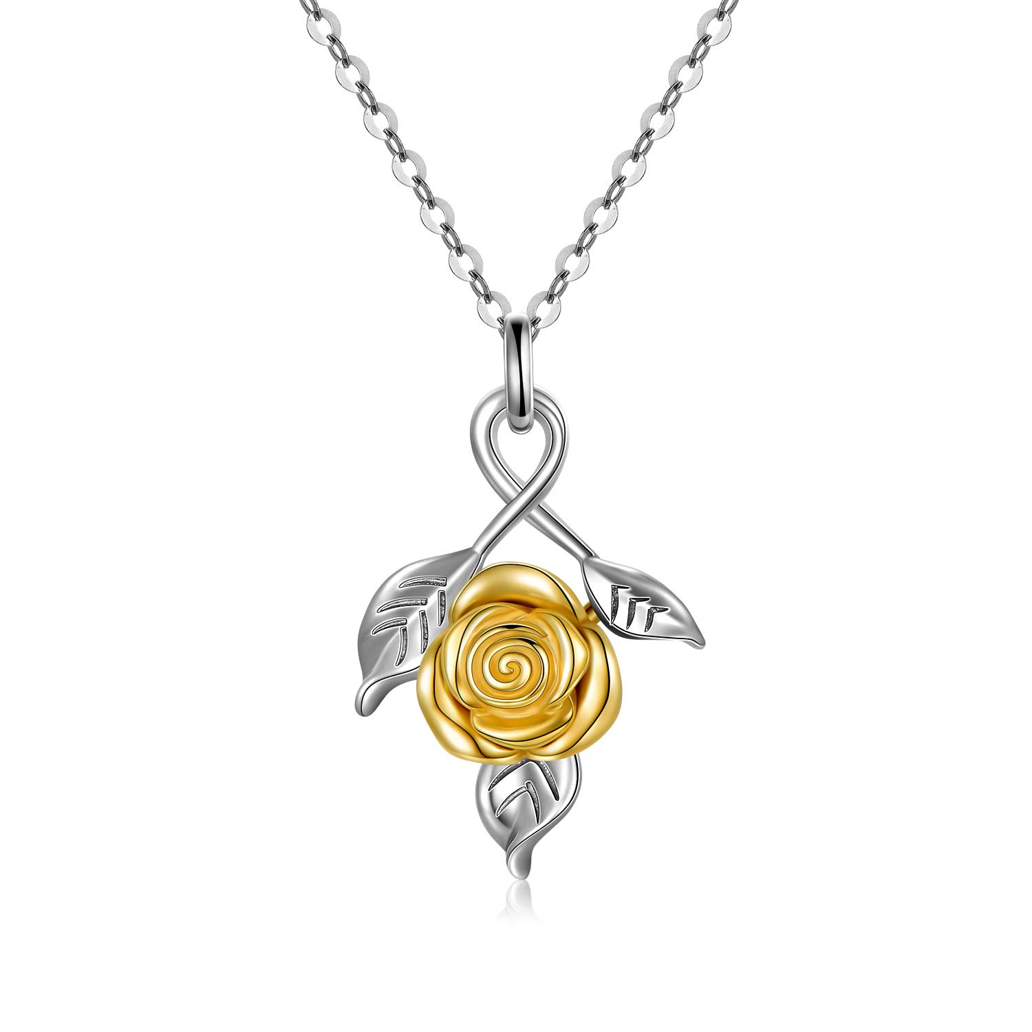 """SISGEM 14K Gold Rose Flower Necklace for Women, Dainty Gold Yellow Flower Pendant Necklace with White Gold Chain Jewelry Gifts for Girls, Anniversary, Birthday 16""""+2"""""""
