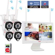 "[Audio]Tonton Wireless All-in-One Full HD 1080P Security Camera System with 15.6"" Monitor,4CH WiFi NVR with 1TB HDD,4PCS 2.0MP Outdoor Bullet IP Cameras with PIR Heating Sensor,Smart Motion Detection"