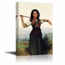 "wall26 - The Little Shepherdess by William-Adolphe Bouguereau - Canvas Print Wall Art Famous Painting Reproduction - 12"" x 18"""