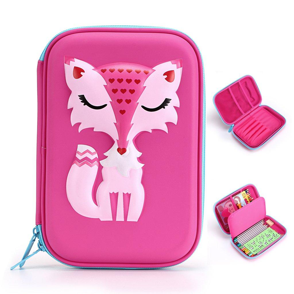 BTSKY Cartoon Fox Kids Pencil Case- Hard Shell EVA Pen Pencil Organizer School Stationery Holder for Boys and Girls (Pink)