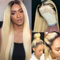 Lace Front Wigs Human Hair Bleach Blonde with Dart Root 18nches Long Straight with Baby Hair for Women Swiss Lace Frontal 180% Density Remy Hair #1b/613 13x6 Deep Part (Could be Side Part)