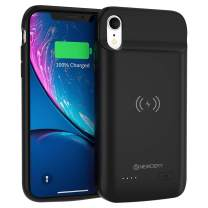 NEWDERY Battery Case for iPhone XR, 5000mAh Wireless Charging Case Compatible with iPhone XR Rechargeable Extended Battery Pack Protective Charger Case Portable Backup Power Bank 6.1inches